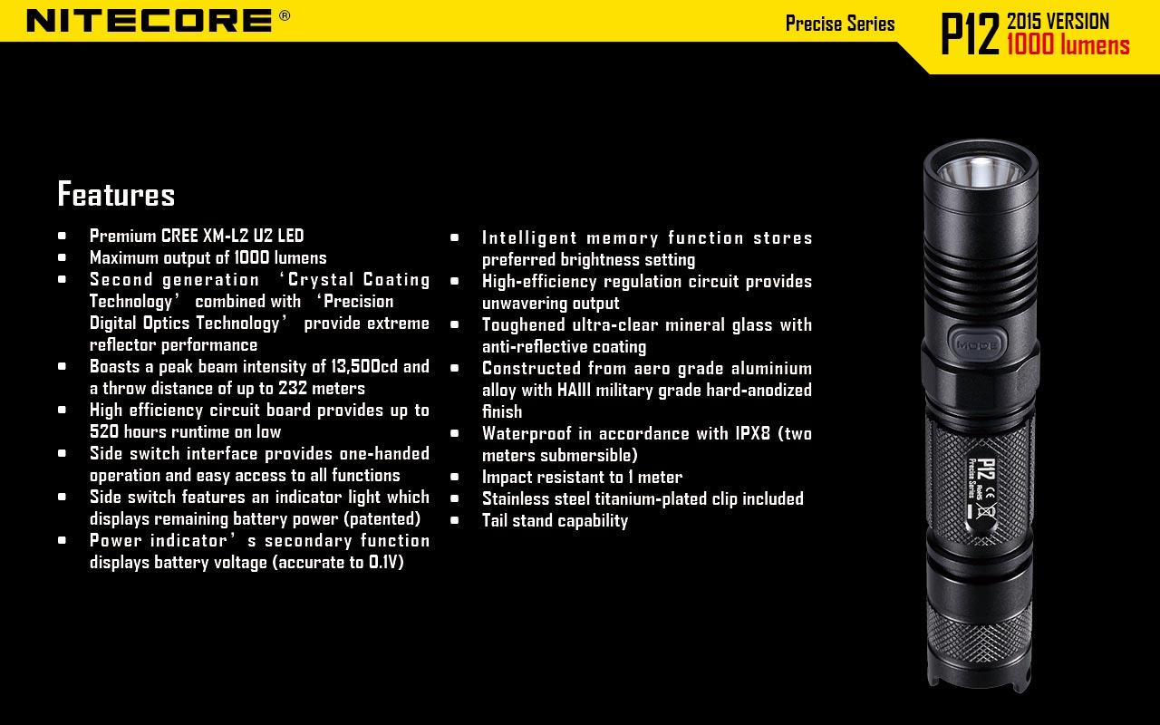 Black NiteCore P12 2015 Version 1000 Lumens Precise Tactical Flashlight CREE XM-L2 U2 LED Waterproof Flashlight