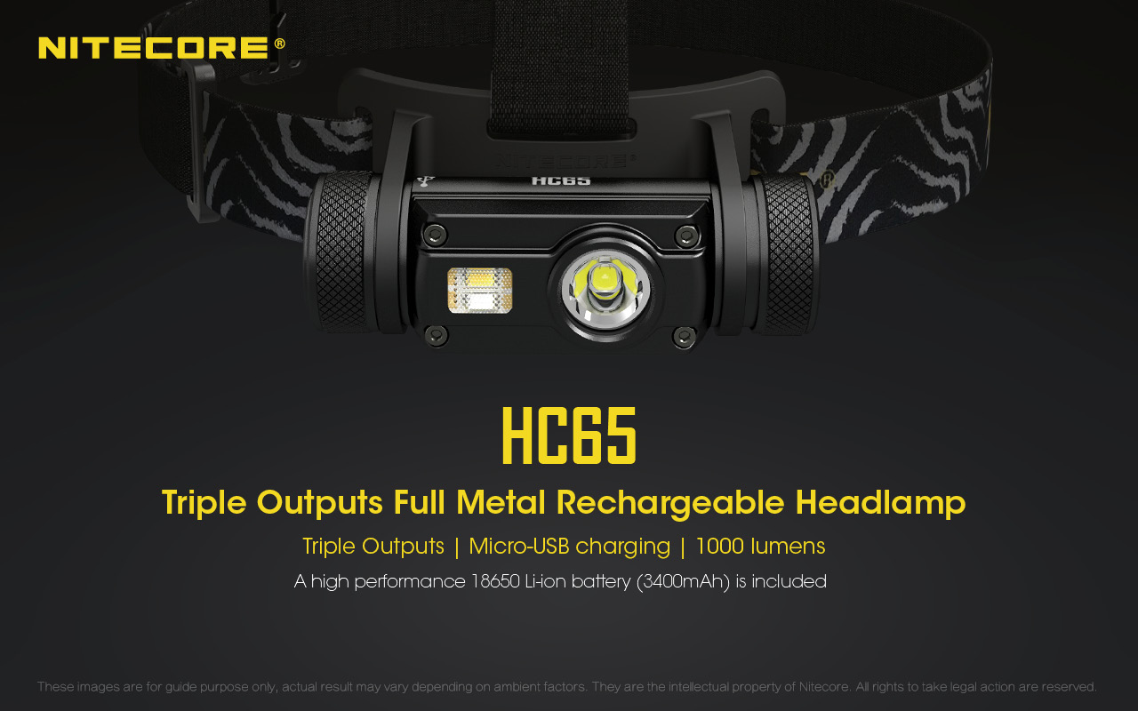 NITECORE HC65 1000L CREE LED Rechargeable Headlamp, hiking, camping, outdoor, adventure, activity, portable, convenient, head lamp, head light