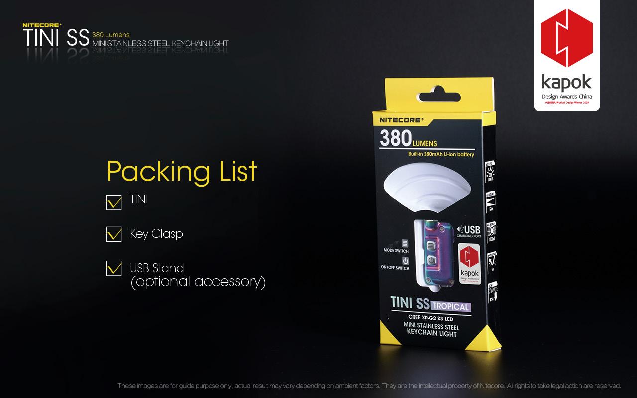 Nitecore TINI SS USB Rechargeable LED Key Light - CREE XP-G2 S3 LED - 380 Lumens