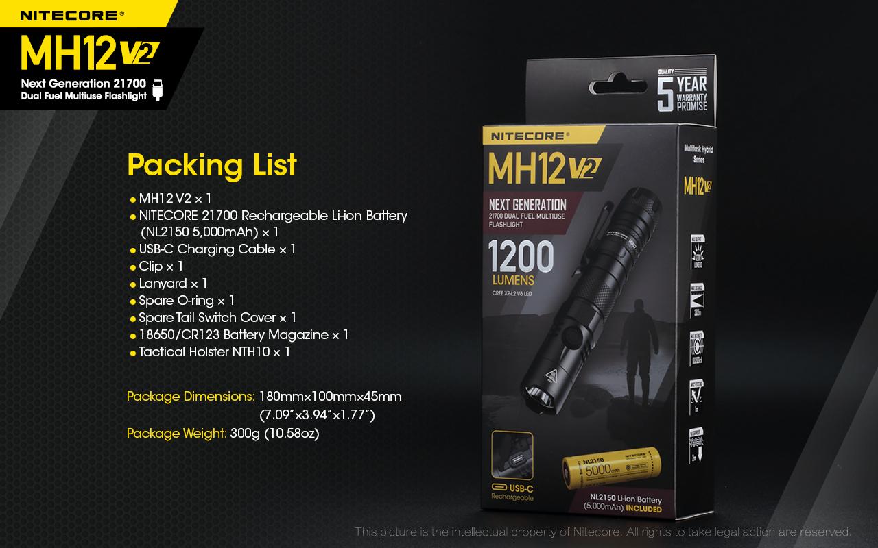 Nitecore MH12 V2 1200 Lumens Rechargeable LED Flashlight